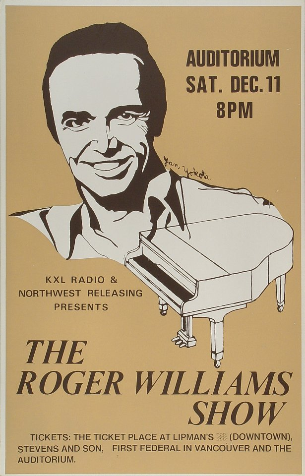 "Roger Williams Poster from Portland Civic Auditorium on 11 Dec 78: 14 1/16"" x 21 7/8"""