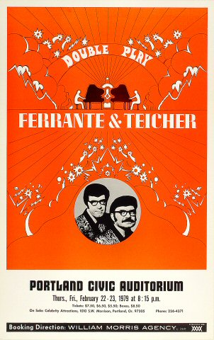 "Ferrante and Teicher Poster from Portland Civic Auditorium on 22 Feb 79: 14"" x 22"""