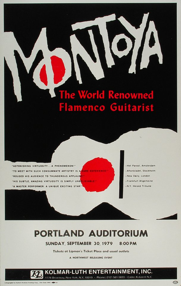 """Carlos Montoya Poster from Portland Civic Auditorium on 30 Sep 79: 14"""" x 22 1/8"""""""