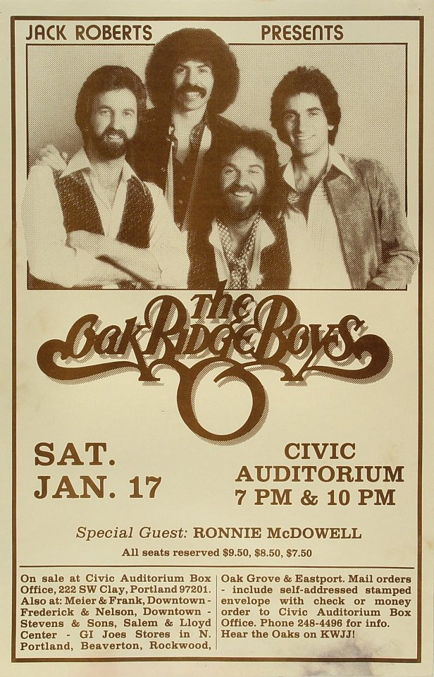 "The Oak Ridge Boys Poster from Portland Civic Auditorium on 17 Jan 81: 11"" x 17"""
