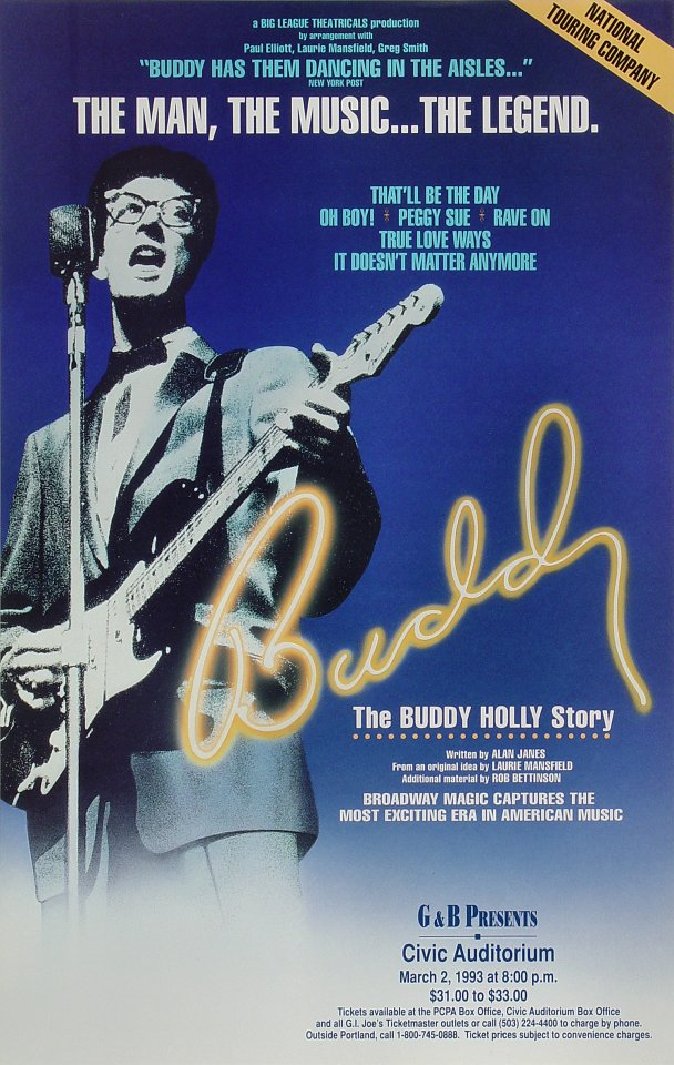 "Buddy Holly Poster from Portland Civic Auditorium on 02 Mar 93: 14"" x 22"""