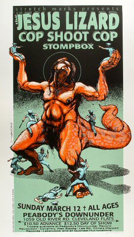 "The Jesus Lizard Poster from Peabody's Down Under on 12 Mar 95: 15 5/8"" x 27 3/8"""