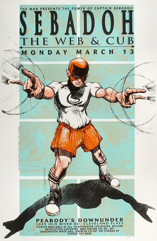 """Sebadoh Poster from Peabody's Down Under on 13 Mar 95: 18"""" x 27 1/4"""""""