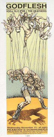 """Godflesh Poster from Peabody's Down Under on 13 Nov 96: 11 1/2"""" x 29"""""""
