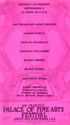 """San Francisco Mime Troupe Handbill from Palace of Fine Arts on 02 Sep 68: 6 1/4"""" x 11"""""""