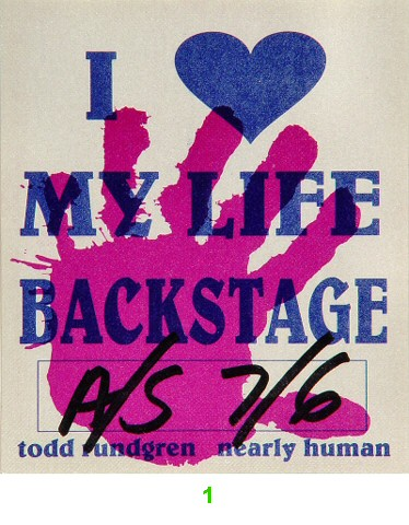 Todd Rundgren Backstage Pass from Palace of Fine Arts on 06 Jul 90: Pass 1
