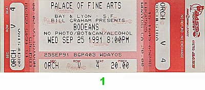 The BoDeans 1990s Ticket from Palace of Fine Arts on 25 Sep 91: Ticket One