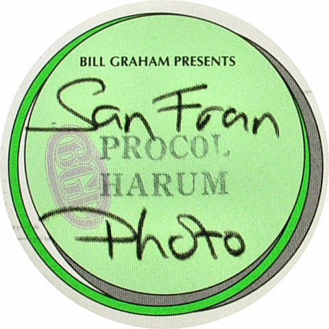 Procol Harum Backstage Pass from Palace of Fine Arts on 03 Oct 91: Pass 1