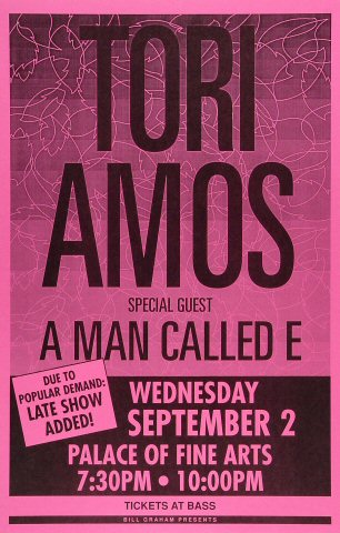 "Tori Amos Poster from Palace of Fine Arts on 02 Sep 92: 11"" x 17"""