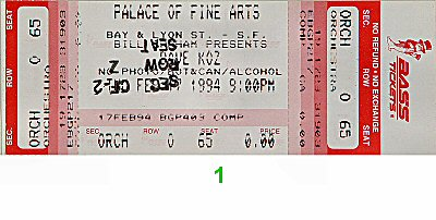 Dave Koz 1990s Ticket from Palace of Fine Arts on 17 Feb 94: Ticket One