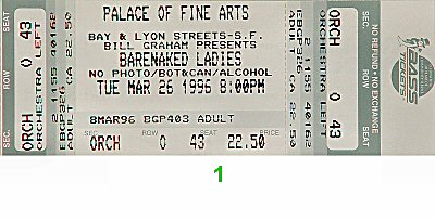 Barenaked Ladies 1990s Ticket from Palace of Fine Arts on 26 Mar 96: Ticket One