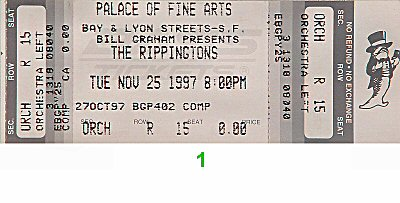 The Rippingtons 1990s Ticket from Palace of Fine Arts on 25 Nov 97: Ticket One