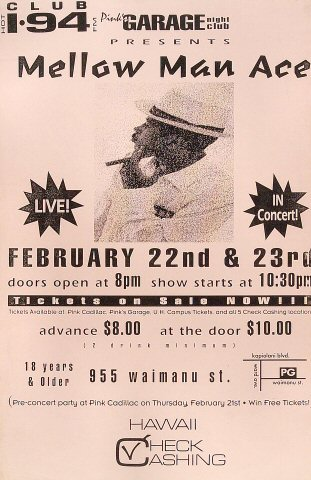 """Mellow Man Ace Poster from Pink's Garage on 22 Feb 91: 11"""" x 17"""""""