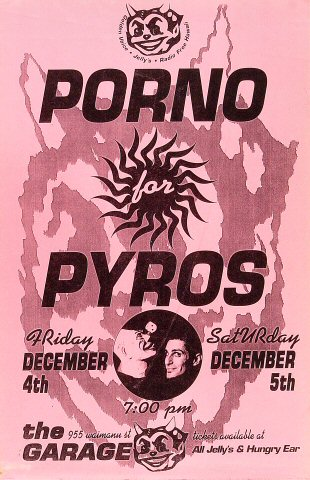 "Porno For Pyros Poster from Pink's Garage on 04 Dec 92: 11"" x 17"""