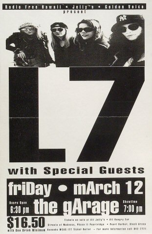 "L7 Poster from Pink's Garage on 12 Mar 93: 11"" x 17"""