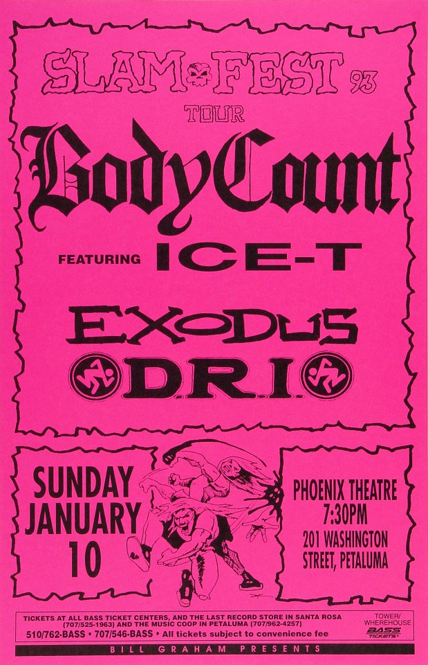 "Body Count Poster from Phoenix Theatre on 10 Jan 93: 11"" x 17"""