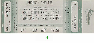 Body Count 1990s Ticket from Phoenix Theatre on 10 Jan 93: Ticket One