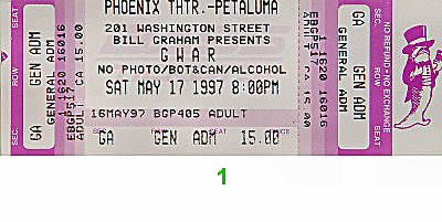 GWAR 1990s Ticket from Phoenix Theatre on 17 May 97: Ticket One