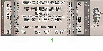 Morrissey 1990s Ticket from Phoenix Theatre on 06 Oct 97: Ticket One
