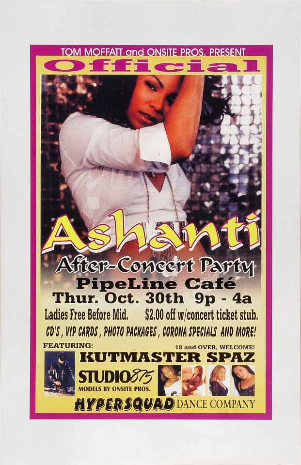"Ashanti Poster from Pipeline Cafe on 30 Oct 03: 11"" x 17"""