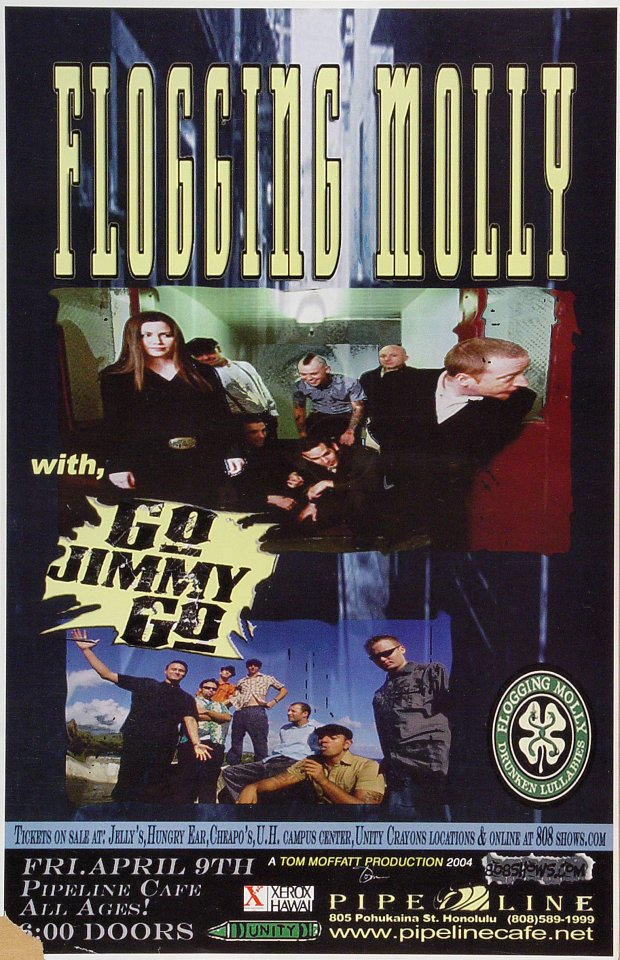 "Flogging Molly Poster from Pipeline Cafe on 09 Apr 04: 11"" x 17"""