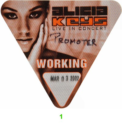 Alicia Keys Backstage Pass from Paramount Theatre on 03 Mar 02: Pass 1