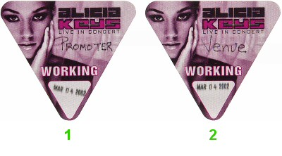 Alicia Keys Backstage Pass from Paramount Theatre on 04 Mar 02: Pass 2