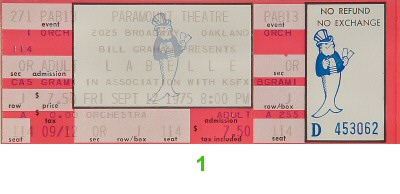 Patti LaBelle 1970s Ticket from Paramount Theatre on 12 Sep 75: Ticket One