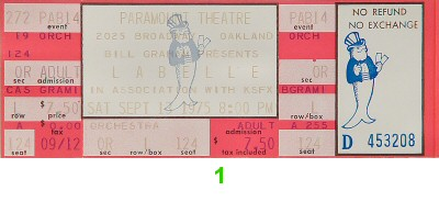 Patti LaBelle 1970s Ticket from Paramount Theatre on 13 Sep 75: Ticket One