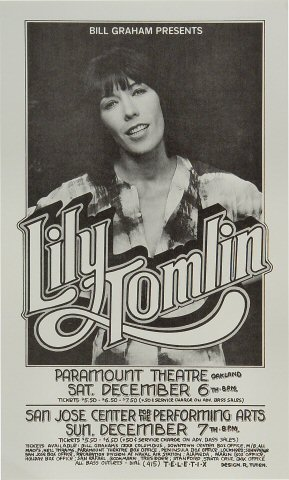 "Lily Tomlin Poster from Paramount Theatre on 06 Dec 75: 8 1/2"" x 14"""