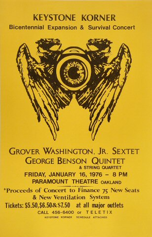 "Grover Washington Jr. Poster from Paramount Theatre on 16 Jan 76: 11"" x 17"""