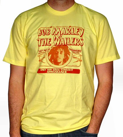 Bob Marley and the Wailers Men's Retro T-Shirt from Paramount Theatre on 29 May 76: XX Large