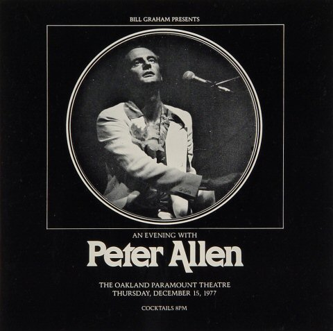 "Peter Allen Program from Paramount Theatre on 15 Dec 77: 8"" x 8"""