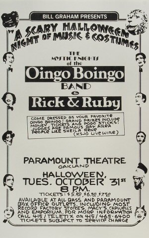 "Oingo Boingo Poster from Paramount Theatre on 31 Oct 78: 11"" x 17"""
