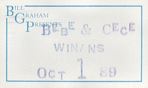 Bebe and Cece Winans Backstage Pass from Paramount Theatre on 01 Oct 89: Pass 1
