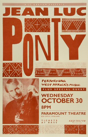"Jean-Luc Ponty Poster from Paramount Theatre on 30 Oct 91: 11"" x 17"""