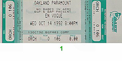 En Vogue 1990s Ticket from Paramount Theatre on 14 Oct 92: Ticket One