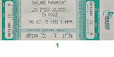 En Vogue 1990s Ticket from Paramount Theatre on 15 Oct 92: Ticket One