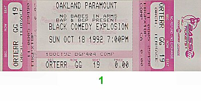 Jamie Foxx 1990s Ticket from Paramount Theatre on 18 Oct 92: Ticket One
