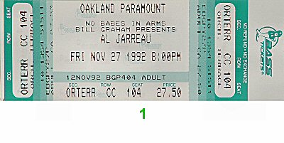 Al Jarreau 1990s Ticket from Paramount Theatre on 27 Nov 92: Ticket One