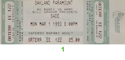 Sade 1990s Ticket from Paramount Theatre on 01 Mar 93: Ticket One