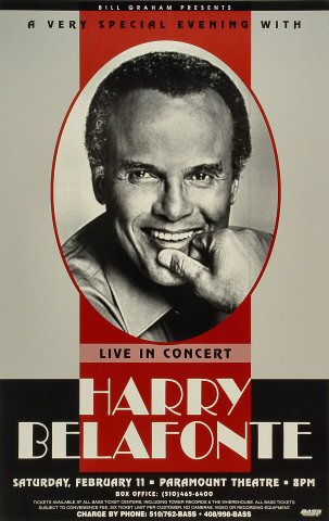 "Harry Belafonte Poster from Paramount Theatre on 11 Feb 95: 12"" x 19"""