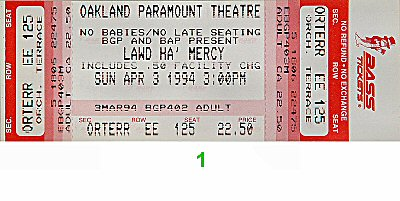 Morris Day 1990s Ticket from Paramount Theatre on 03 Apr 94: Ticket One