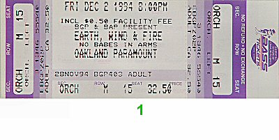 Earth, Wind & Fire 1990s Ticket from Paramount Theatre on 02 Dec 94: Ticket One