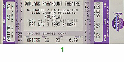 Fourplay 1990s Ticket from Paramount Theatre on 03 Nov 95: Ticket One