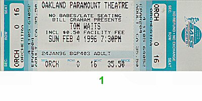 Tom Waits 1990s Ticket from Paramount Theatre on 04 Feb 96: Ticket One
