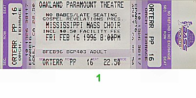 Mississippi Mass Choir 1990s Ticket from Paramount Theatre on 16 Feb 96: Ticket One