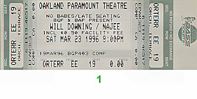 Will Downing 1990s Ticket from Paramount Theatre on 23 Mar 96: Ticket One