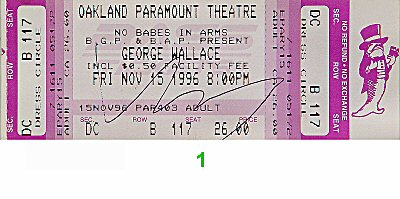 George Wallace 1990s Ticket from Paramount Theatre on 15 Nov 96: Ticket One