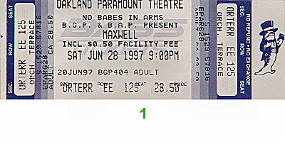 Maxwell 1990s Ticket from Paramount Theatre on 28 Jun 97: Ticket One